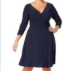Navy Blue, Ruched A-Line Dress 2X